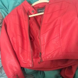 Sweaters - A Hot Pink Leather Jean Jacket
